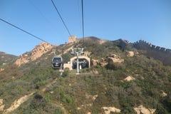 O cabo aéreo até o Grande Muralha de China Fotos de Stock
