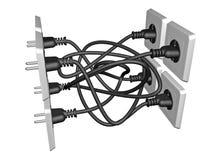 o cabo 3D bonde obstruiu em um soquete Fotos de Stock Royalty Free