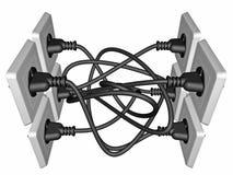 o cabo 3D bonde obstruiu em um soquete Fotografia de Stock