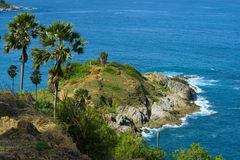 o cabo do promthep é a atração famosa para o por do sol em phuket Imagens de Stock