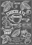O cacau, cacau, grupo do vetor do chocolate da sobremesa tempera logotipos, etiquetas, crachás e elementos do projeto Texto retro Fotos de Stock Royalty Free