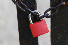 O cadeado e a corrente vermelhos Fotos de Stock