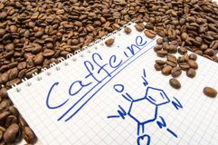 O caderno com cafeína do título de texto e fórmula química pintada da cafeína é cercado por grões prontos para uso fritadas do ca fotografia de stock royalty free