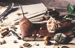 O caderno de couro velho e seca cor-de-rosa Foto de Stock Royalty Free