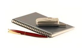 O caderno e o telefone móvel Imagens de Stock Royalty Free