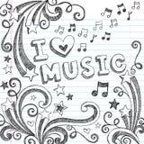 O caderno esboçado da música Doodles a ilustração do vetor Fotografia de Stock