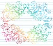 O caderno esboçado Doodles a beira das videiras dos redemoinhos ilustração stock