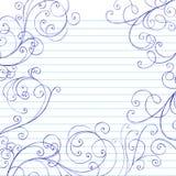 O caderno esboçado dos redemoinhos Doodles a beira Imagens de Stock Royalty Free