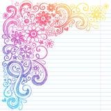 O caderno esboçado da escola das flores rabisca a ilustração do vetor Imagens de Stock