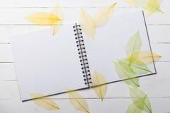 O caderno espiral com cor secou as folhas na madeira branca Fotografia de Stock