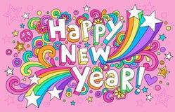 O caderno Groovy do ano novo feliz Doodles o vetor ilustração do vetor