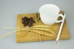 O caderno velho com lápis e a xícara de café isolam o fundo Fotografia de Stock