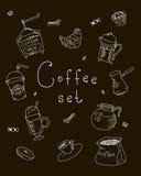 O café ajustado do café da padaria dos doces do desenho a mão livre bebe garatujas, vetor Imagem de Stock