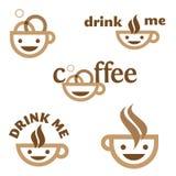 O café bebe-me emblema Fotos de Stock Royalty Free