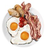 O café da manhã americano clássico dos ovos e do bacon ilustração do vetor