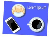 O café da manhã com croissant e o iphone vector a ilustração no azul Fotos de Stock