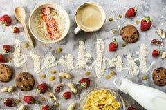 O café da manhã da palavra da farinha de aveia Imagem de Stock Royalty Free