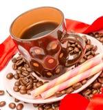 O café dos feijões de café indica o café delicioso e fresco fotografia de stock royalty free
