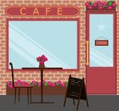 O café e a tabela ilustração stock