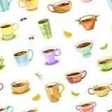 O café ou o chá derramaram dentro o vetor sem emenda do teste padrão do copo ilustração stock