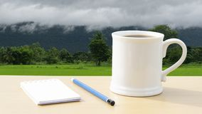 O café quente na manhã escreve ideias novas imagens de stock