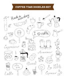 O café rabisca elementos do vetor Imagens de Stock Royalty Free