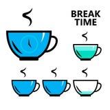 O café, sinal do tempo da ruptura de chá, isolou a ilustração lisa do vetor Foto de Stock