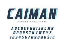 O caimão Sans Serif na moda ostenta o caráter tipo, a fonte, as letras e o insensibilizado ilustração do vetor