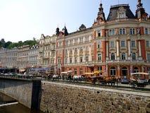 O cais Karlovy varia Foto de Stock