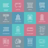 O calefator de óleo, a chaminé, o aquecedor, o radiador da coluna do painel e outros dispositivos de aquecimento da casa alinham  Imagens de Stock