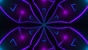 O caleidoscópio abstrato bonito da simetria com linhas de néon brilhantes, 3d rende o contexto, computador que gera o fundo ilustração stock