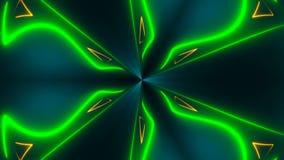 O caleidoscópio abstrato bonito da simetria com linhas de néon brilhantes, 3d rende o contexto, computador que gera o fundo ilustração royalty free