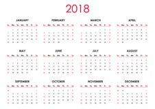 O calendário 2018 Imagem de Stock