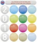O calendário colorido pelo ano 2018, semana começa em domingo Fotografia de Stock Royalty Free