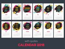 O calendário com inspiração cita 2018, molde colorido brilhante do ano imagem de stock