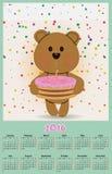 O calendário da ilustração para 2016 em brinquedos das crianças projeta com ted bonito Foto de Stock