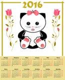 O calendário da ilustração para 2016 nas crianças projeta com o gato bonito do brinquedo Fotografia de Stock