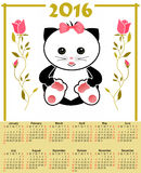 O calendário da ilustração para 2016 nas crianças projeta com o gato bonito do brinquedo Fotos de Stock Royalty Free