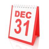 O calendário da véspera de Ano Novo, 3d rende Fotos de Stock