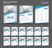O calendário de mesa um tamanho de 2019 anos molde de 6 x 8 polegadas, molde 2019, grupo de 12 meses, semana azul do calendário c ilustração stock