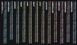 O calendário de parede criativo 2019 com projeto vertical do arco-íris, domingos selecionou, língua inglesa ilustração royalty free
