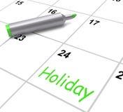 O calendário do feriado mostra o dia e a ruptura de resto de ilustração stock