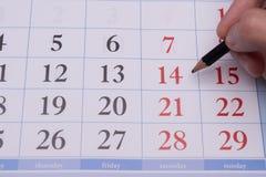 O calendário e os números Imagens de Stock Royalty Free