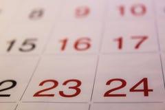 O calendário está na tabela Imagem de Stock