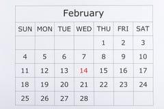 O calendário feriado o 14 de fevereiro é destacado dentro Foto de Stock Royalty Free