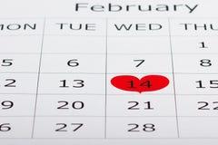 O calendário feriado o 14 de fevereiro é destacado dentro Fotos de Stock Royalty Free