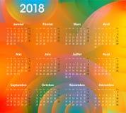O calendário francês para 2018 no sumário circunda o fundo ilustração stock