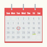 O calendário vermelho do flip-flop com cinza numera o close-up no fundo branco ilustração royalty free