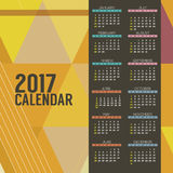 O calendário imprimível do sumário 2017 moderno começa o gráfico geométrico de domingo Imagens de Stock