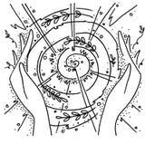 O calor das mãos trabalhadoras Natureza, sol, círculo ilustração royalty free